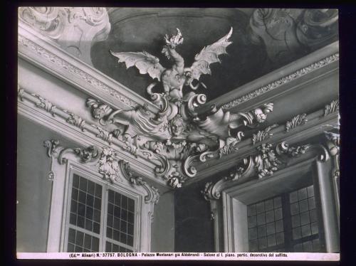 Anonimo, Bologna, Palazzo Montanari, S. Orlandi, Scultura in gesso con Drago, gelatina su carta, CC BY-NC-ND