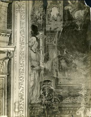 Gabinetto Fotografico Nazionale, Bologna, Madonna del Baraccano, Francesco Del Cossa, Angelo (part.) dalla Madonna in trono, angeli e committenti, Albumina su carta, CC BY-NC-ND