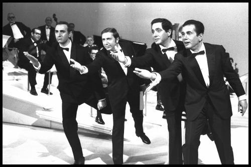 Sabato sera; Pippo Baudo, Mike Bongiorno, Corrado ed Enzo Tortora, negativo b/n, CC BY-SA