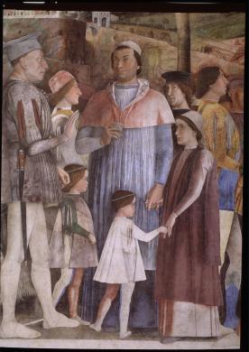 Quattrone, Antonio, Mantegna Andrea, Incontro tra Ludovico III Gonzaga e il figlio Francesco, dipinto murale, Mantova, Palazzo Ducale, Camera degli sposi, parete occidentale, dopo il restauro, 30/10/1998, CC BY-SA