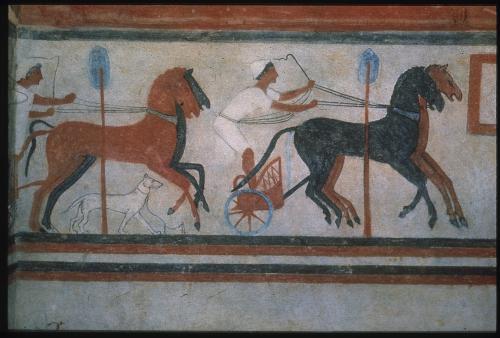 Anonimo, Ambito etrusco sec. V a.C., Corsa di bighe, decorazione pittorica, Chiusi, Tomba del Colle, prima del restauro, ante 1975, diapositiva mm 35, CC BY-SA