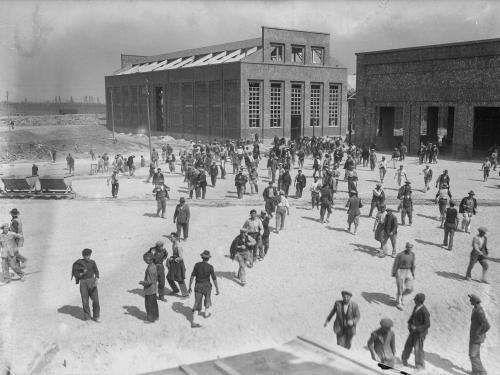 Anonimo, Torre di Zuino : Cantieri per la costruzione dello stabilimento per la produzione della cellulosa, 04/07/1938, gelatina bromuro d'argento/ vetro, CC BY-NC-ND