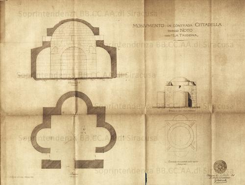 """Sebastiano, Arch. Agati (1872-1949), Italia, Sicilia, Noto (SR) – Monumento in contrada Cittadella presso Noto, detto """"La Trigona"""". Rilevò e disegnò Sebastiano Agati nell'ottobre del 1893. La rappresentazione grafica, in un'unica tavola, è datata 1 aprile 1897, è composta dalla pianta del Monumento scala 1:50, dalla proiezione orizzontale della cupola scala 1:100, dell'elevazione vista da sud – ovest scala 1:100, dalla sezione A-B scala 1:50 e dalla proiezione orizzontale della cupola scala 1:100. Autografata dall'Architetto Giuseppe Patricolo membro della Commissione Conservatrice dei Monumenti ed oggetti d'Arte e d'Antichità per la provincia di Palermo dal 1876 al 1905 e Direttore dell'Ufficio Regionale per la Conservazione dei Monumenti della Sicilia dal 1891 al 1904. Timbro a inchiostro dell'Ufficio Regionale per la Conservazione dei Monumenti della Sicilia. L'Architetto Sebastiano Agati che rilevò e disegnò il Monumento detto """"La Trigona"""" fu nominato dal 1905 al 1909 membro dell'Ufficio Regionale per la Conservazione dei Monumenti della Sicilia con sede a Palermo con l'incarico di disegnatore; tra il 1902 e il 1949, svolse la sua opera di Architetto, Storico dell'arte, Funzionario tecnico e Ispettore Onorario a Siracusa. Collocazione Archivio Storico Documenti Div. II Siracusa - Noto Faldone 75 , file JPEG, 01/04/1897, Materia: carta Tecnica: disegno a inchiostro mm 530 x 660, CC BY-NC-ND"""