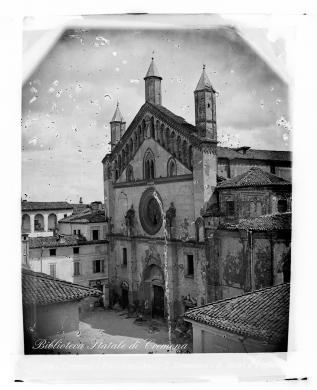 Aurelio Betri, Cremona, facciata della basilica di San Domenico, demolita tra il lugli e il novembre 1869, ante 1869, Lastra, CC BY-SA