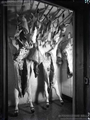 Studio Rossetti, Macelleria del Lanificio Zegna, 1930 circa, Gelatina al bromuro d'argento su lastra, CC BY-SA