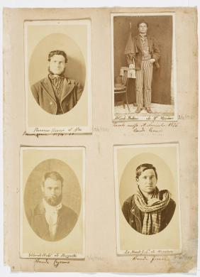 Pagina dell'Album delinquenti n. 2. Le 4 fotografie rappresentano i briganti Vincenzo Porrazzo e Paolino Di Carlo della banda Leone, Nicolò Velardi della banda Capraro e Giufà La Monte della banda Faragi, circa 1875., Tre stampe all'albumina (6 X 9,7 cm) incollate su cartoncino (6,5 X 12 cm) e una stampa all'albumina (5,7 X 9,7 cm) incollata su cartoncino 6,5 X 10,5 cm, CC BY-SA