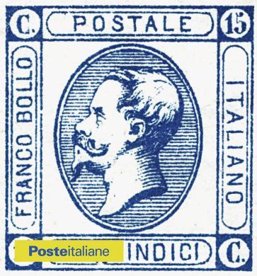 1863. Per la prima volta su un francobollo dell'Italia post unitaria compare la parola italiano. Nell'ovale, Re Vittorio Emanuele II, CC BY-NC-ND