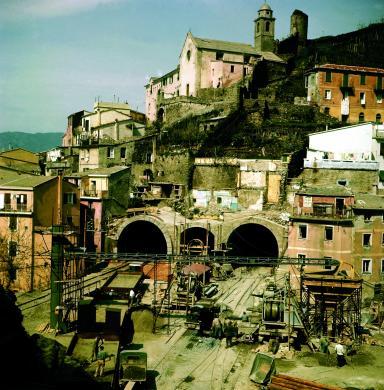 Fototeca Centrale FS, Linea Genova-La Spezia, lavori di raddoppio tra Riomaggiore e Framura, 1960, CC BY-NC-ND