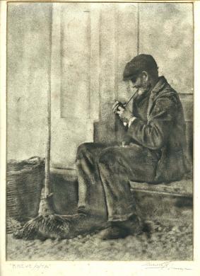 """Angelo Maltese - Siracusa, """"Breve sosta"""" -  Opera facente parte della seconda mostra personale dell'autore, Siracusa - Gennaio 1929, 1929, Stampa al bromuro da lastra vetro negativo bianco e nero ritoccato manualmente, CC BY-SA"""