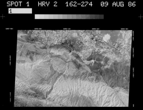 CRAST, Immagine satellitare Spot 1 di Nisa Vecchia, 1986, negativo, CC BY-SA
