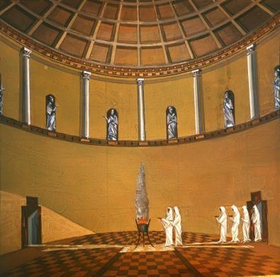 Nisa Vecchia, ricostruzione interno della Sala Rotonda, diapositiva da originale sovietico, CC BY-SA