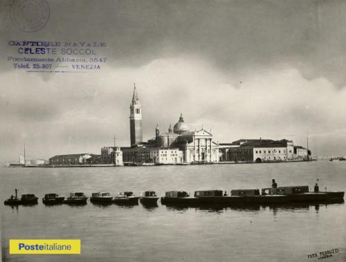 Fine anni Trenta, Venezia. Motoscafi delle Regie Poste davanti all'Isola di San Giorgio, CC BY-NC-ND