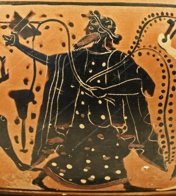 Museo Archeologico Regionale Paolo Orsi, particolare con raffigurazione di Dioniso - cratere a calice, attribuito al pittore Antimenes. Da Siracusa, necropoli di Giardino Spagna. 520 a.C. circa., fotografia Still life, CC BY-NC-ND